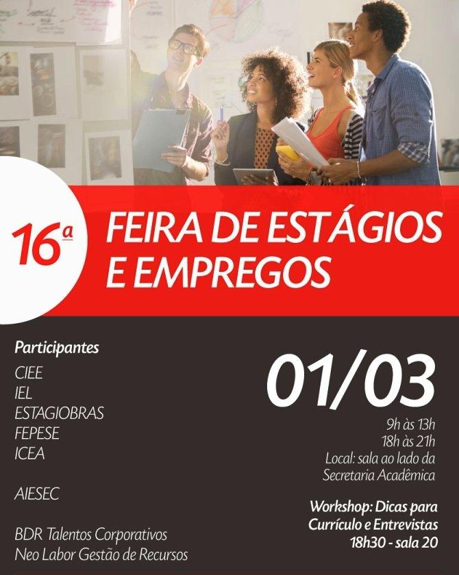 16ª Feira de Estágio e Empregos da Faculdade CESUSC terá workshop aberto ao público