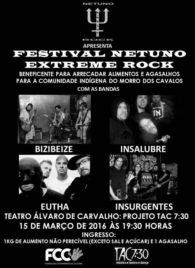 Festival beneficente Netuno Extreme Rock com quatro bandas no TAC 7:30