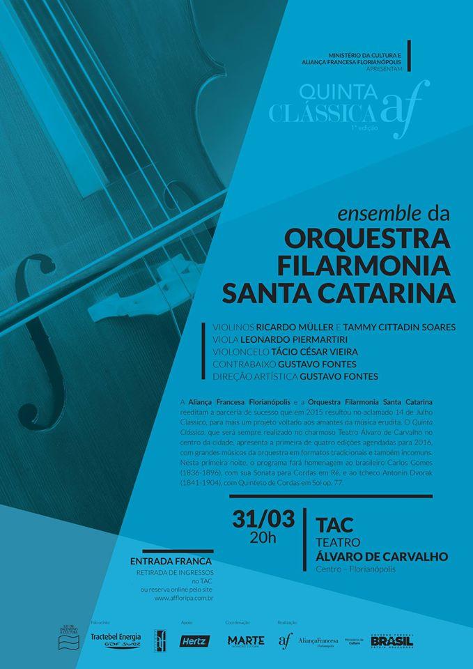 Concerto gratuito da Orquestra Filarmonia Santa Catarina - Quinta Clássica AF