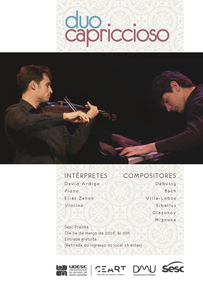 Recital gratuito do Duo Capriccioso, com pianista David Ardigo e violinista Elias Zanon