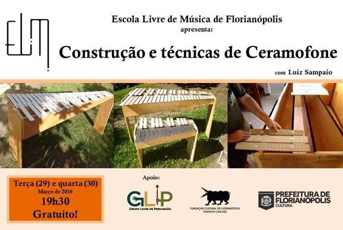 """Oficina gratuita """"Construção e técnicas de Ceramofone"""" com Luiz Sampaio"""