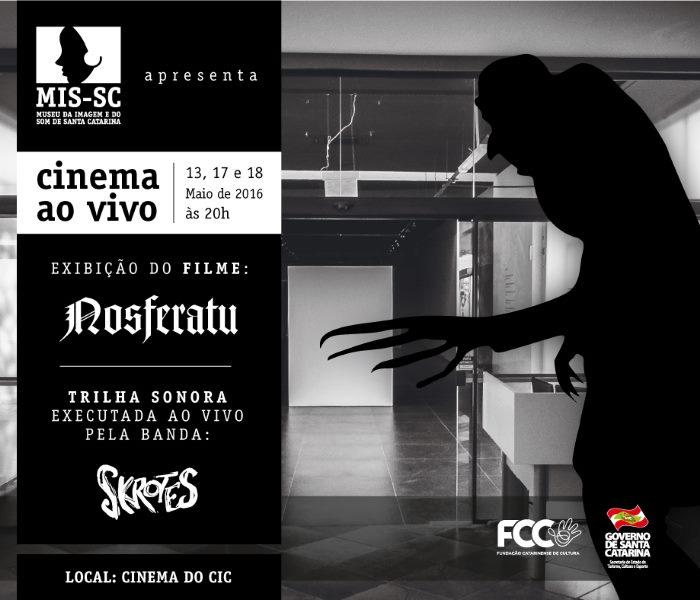 """Sessão gratuita do clássico de terror """"Nosferatu"""" trilhado ao vivo pelos Skrotes"""