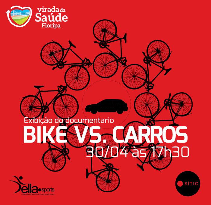 """Exibição gratuita do filme """"Bike vs Carros"""" com debate - Virada da Saúde Floripa"""