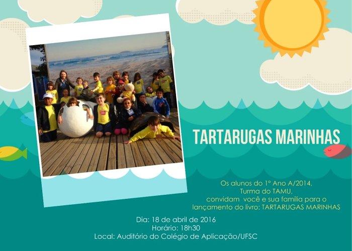 """Lançamento do livro """"Tartarugas Marinhas"""" escrito por alunos do ensino fundamental"""