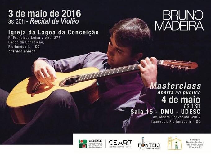 Masterclass e Recital de Violão gratuitos com Bruno Madeira