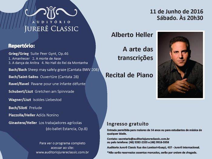 """Alberto Heller apresenta recital de piano """"A arte das transcrições"""""""