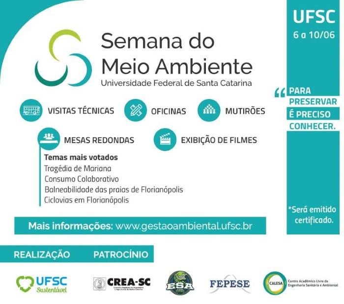 Semana do Meio Ambiente da UFSC 2016 com atividades gratuitas