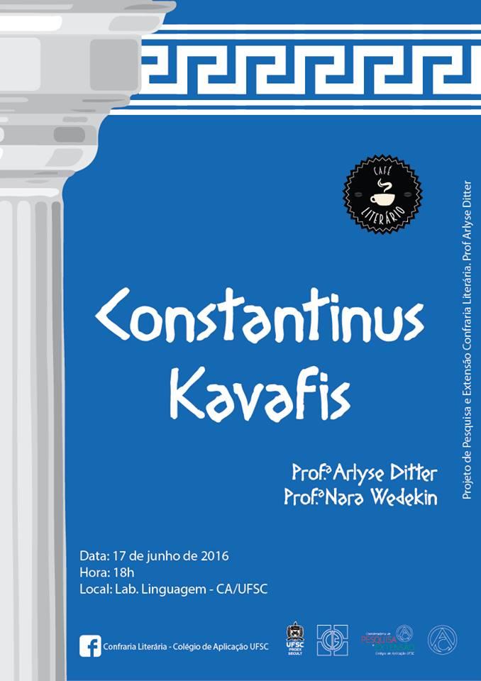 Café Literário apresenta poeta grego Constantinus Kavafis
