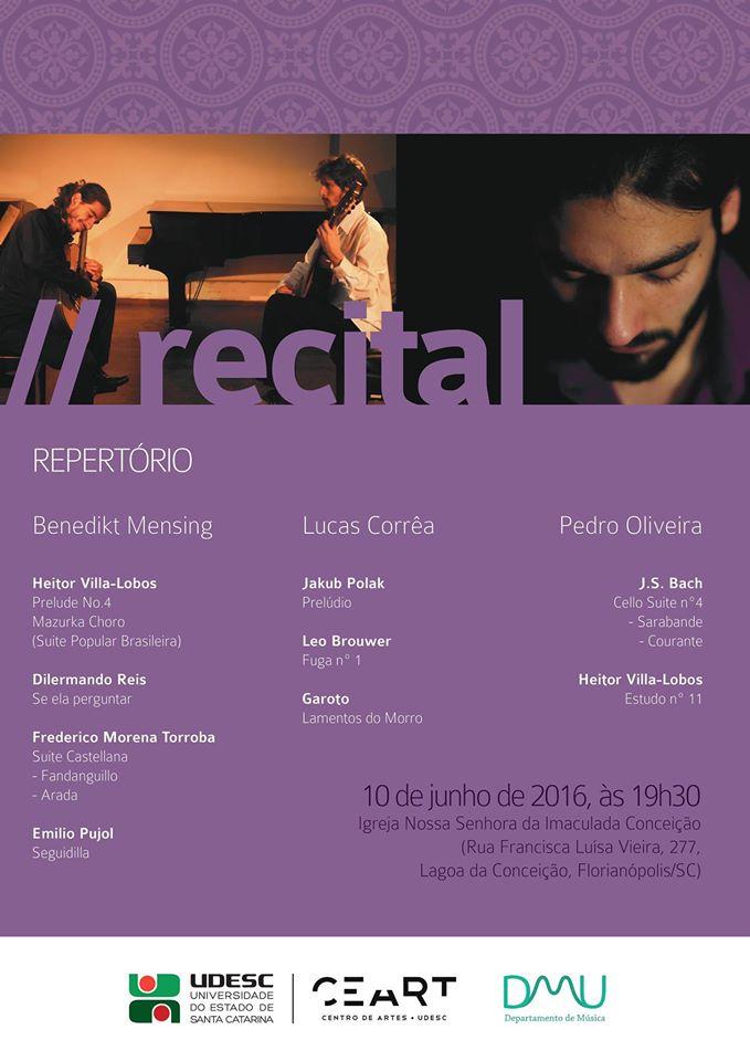Recital de violão com obras brasileiras, espanholas, cubanas e alemãs
