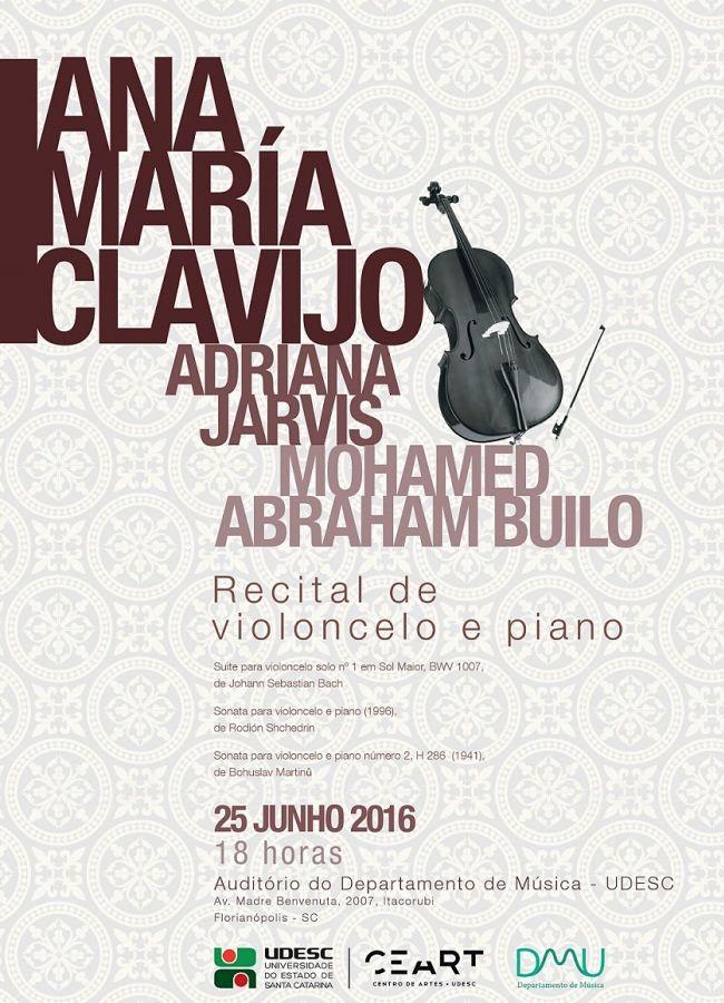 Recital de violoncelo e piano de Ana Maria Clavijo