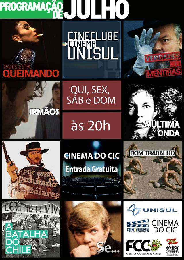 Programação gratuita de julho do Cinema do CIC