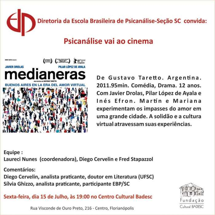 "Cineclube Badesc exibe filme argentino ""Medianeras"" (2011) de Gustavo Taretto"