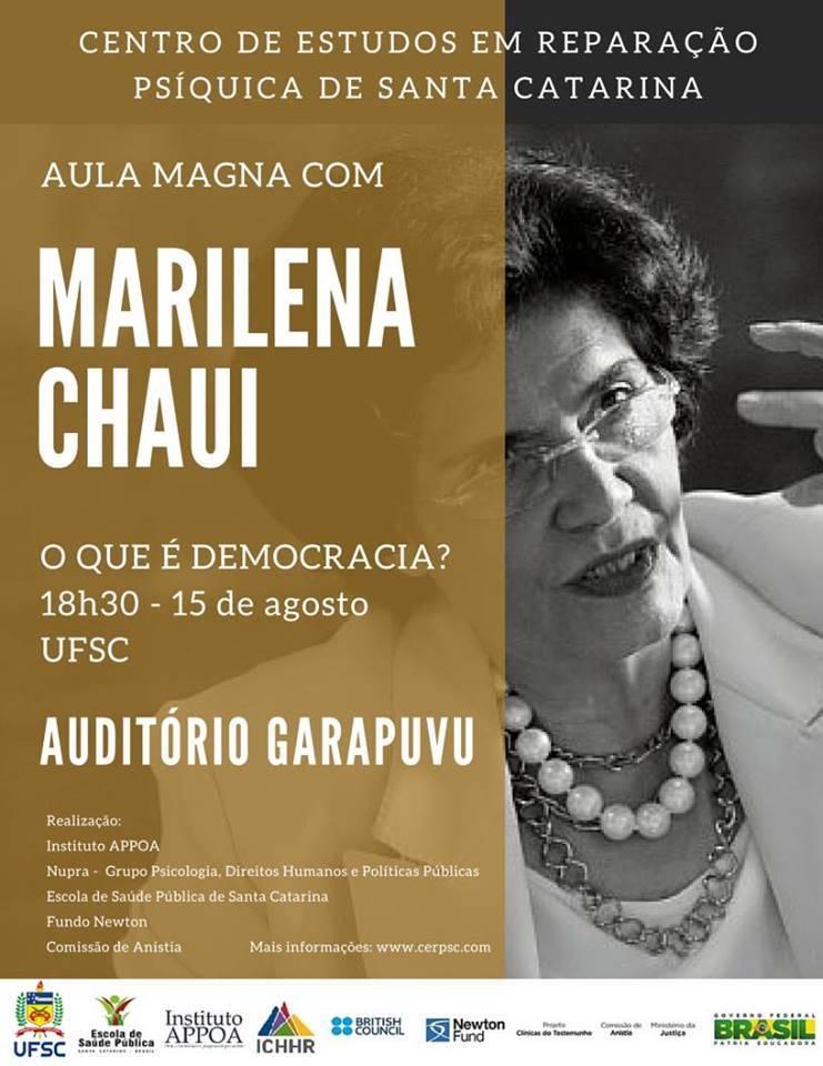 """Aula Magna com Marilena Chauí """"O que é democracia?"""""""