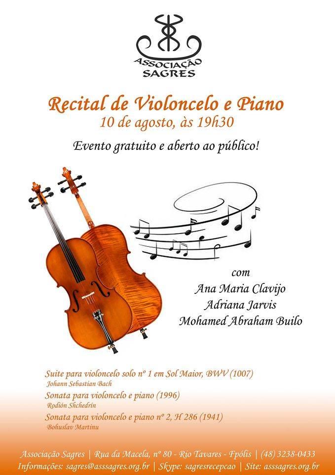 Recital gratuito de violoncelo e piano