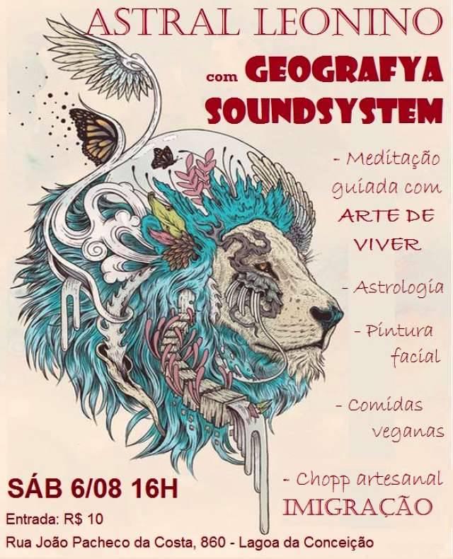 Astral Leonino com Geografya Soundsystem, meditação, roda de astrologia e comidinhas veganas