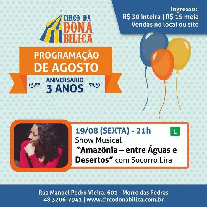 """Show musical """"Amazônia – entre Águas e Desertos"""" de Socorro Lira"""