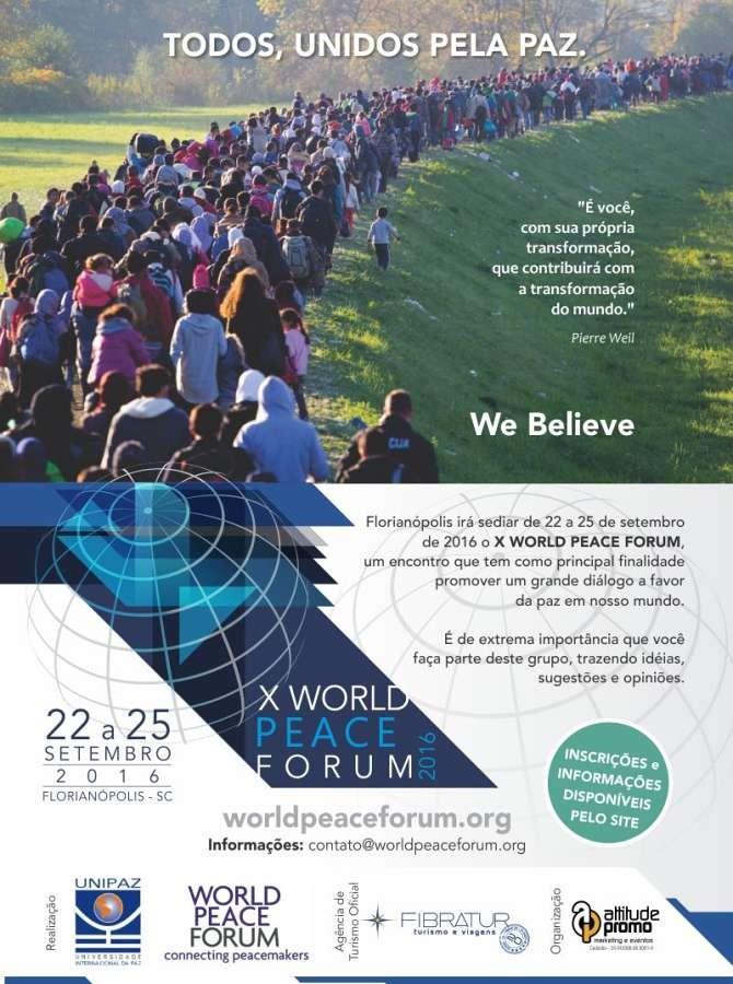 X Fórum Mundial da Paz terá palestras, workshops e apresentações culturais