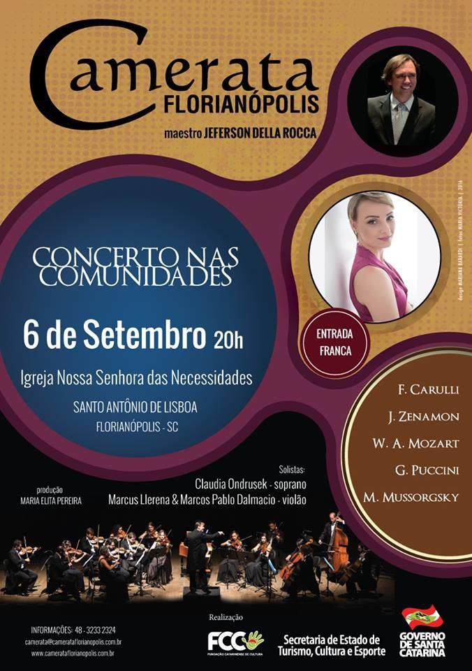Camerata Florianópolis faz concerto gratuito com obras de Mozart, Puccini, Carulli, Zemanon e Moussorgky