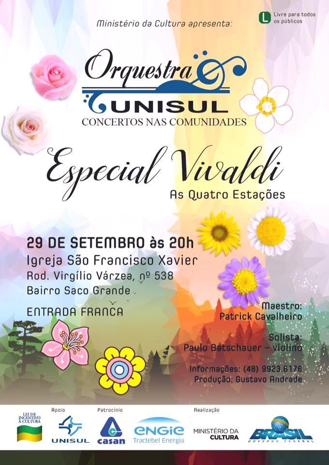 "Orquestra Unisul apresenta concerto gratuito ""Especial Vivaldi"""