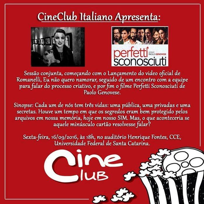 """Cineclub Italiano apresenta """"Perfetti Sconosciuti"""" e lançamento do videoclipe de Romanelli"""