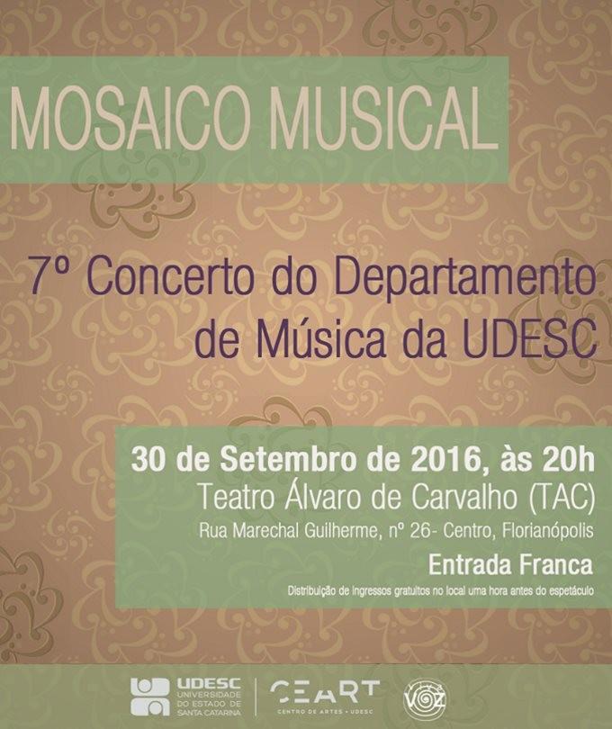 7º Mosaico Musical – Concerto gratuito do Departamento de Música da Udesc