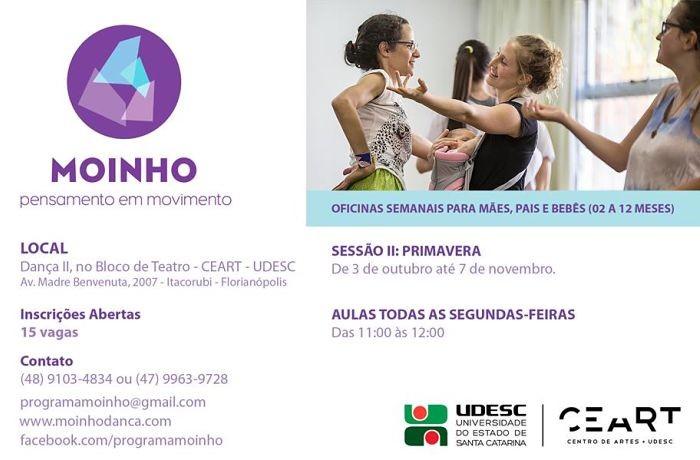 Inscrições para oficina gratuita de dança de adultos e bebês para Sesssão de Primavera II