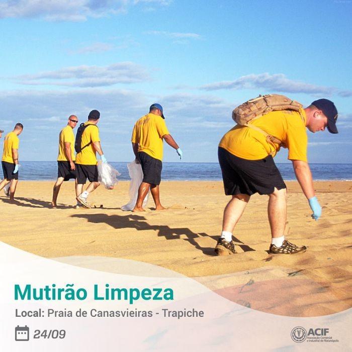 Mutirão de Limpeza ACIF nas praias de Canasvieiras e Cachoeira do Bom Jesus