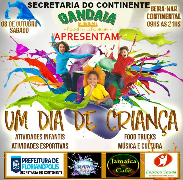 """""""Um Dia de Criança"""" na Beira Mar Continental com muitas atividades, Food Trucks e música ao vivo"""