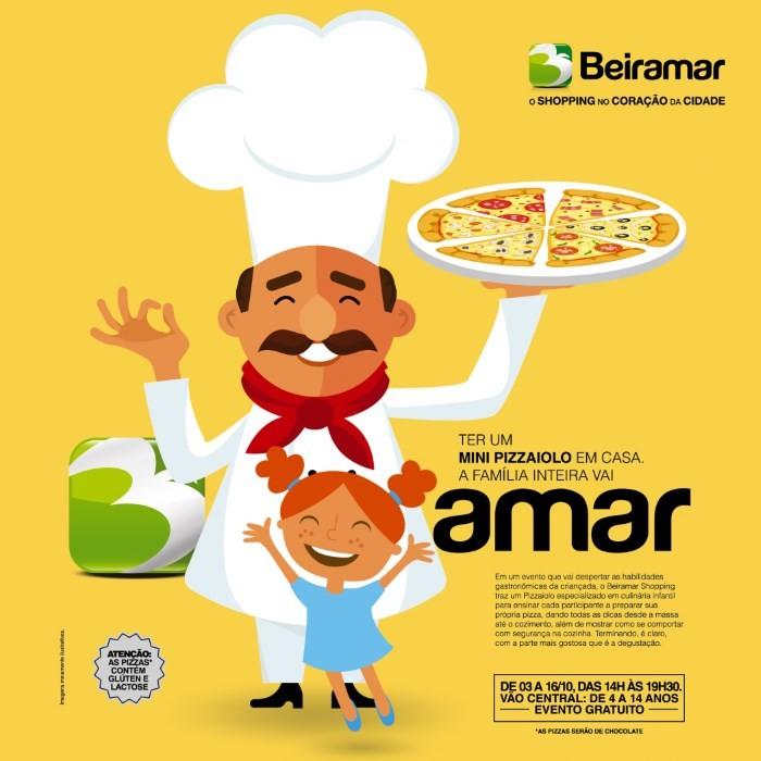 Oficina gratuita de pizza para crianças no Beiramar Shopping