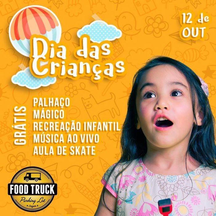 Dia das Crianças no Food Truck Parking Lot com aulas de skate, palhaço, mágico e música ao vivo