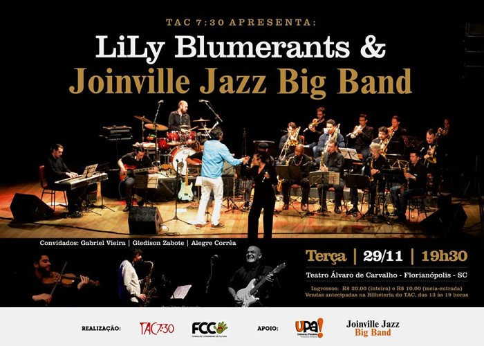 Show de Lily Blumerants e Joinville Jazz Big Band no TAC 7:30